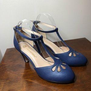 Blue Mary Jane vegan leather pumps size 9